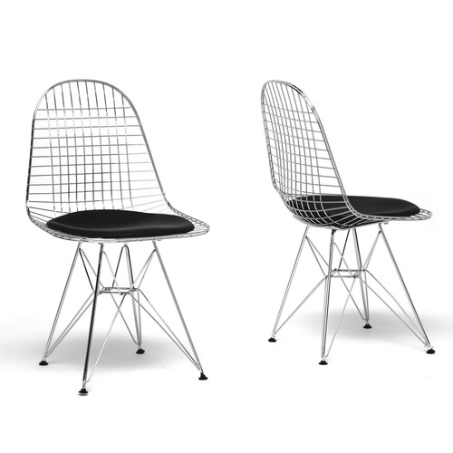 Wholesale Interiors Avery Mid-Century Modern Wire Chair with Cushion, Set of 2, Black