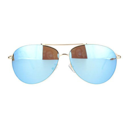 Color Reflective Mirror Officer Style Cop Metal Rim Sunglasses Gold Blue (Cop Style Sunglasses)