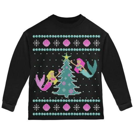 Mermaid Tree Ugly Christmas Sweater Toddler Long Sleeve T Shirt - Christmas Sweater T-shirt
