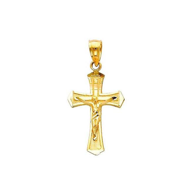 crucifix jesus charm pendant religious necklace Real 14k gold cross pendant