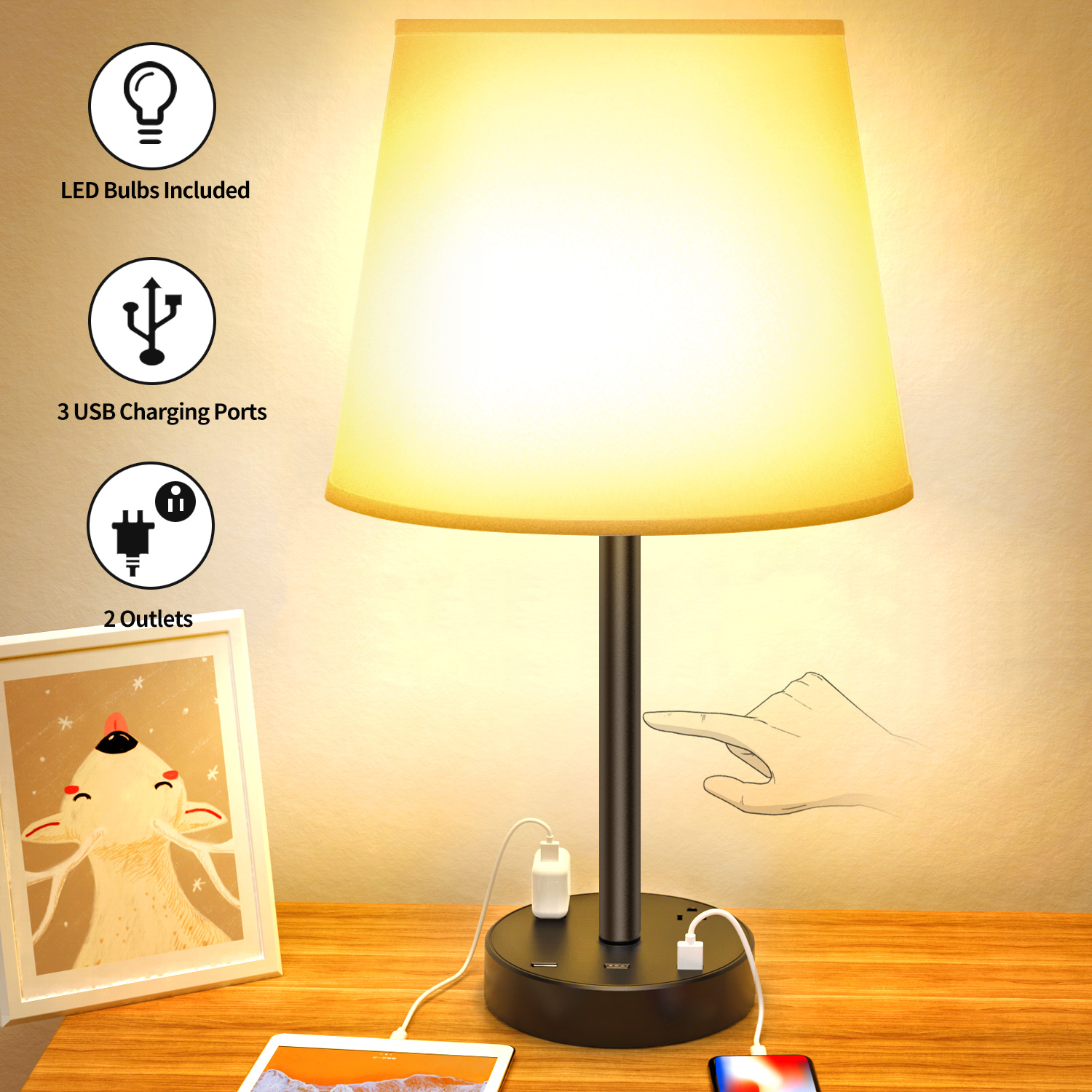 touch control table lamp  touch lamp with usb ports and