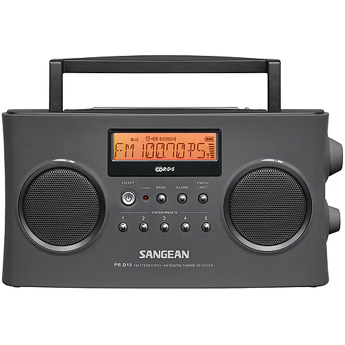 Sangean PR-D15 FM-Stereo/AM Digital Rechargeable Portable Radio, Gray