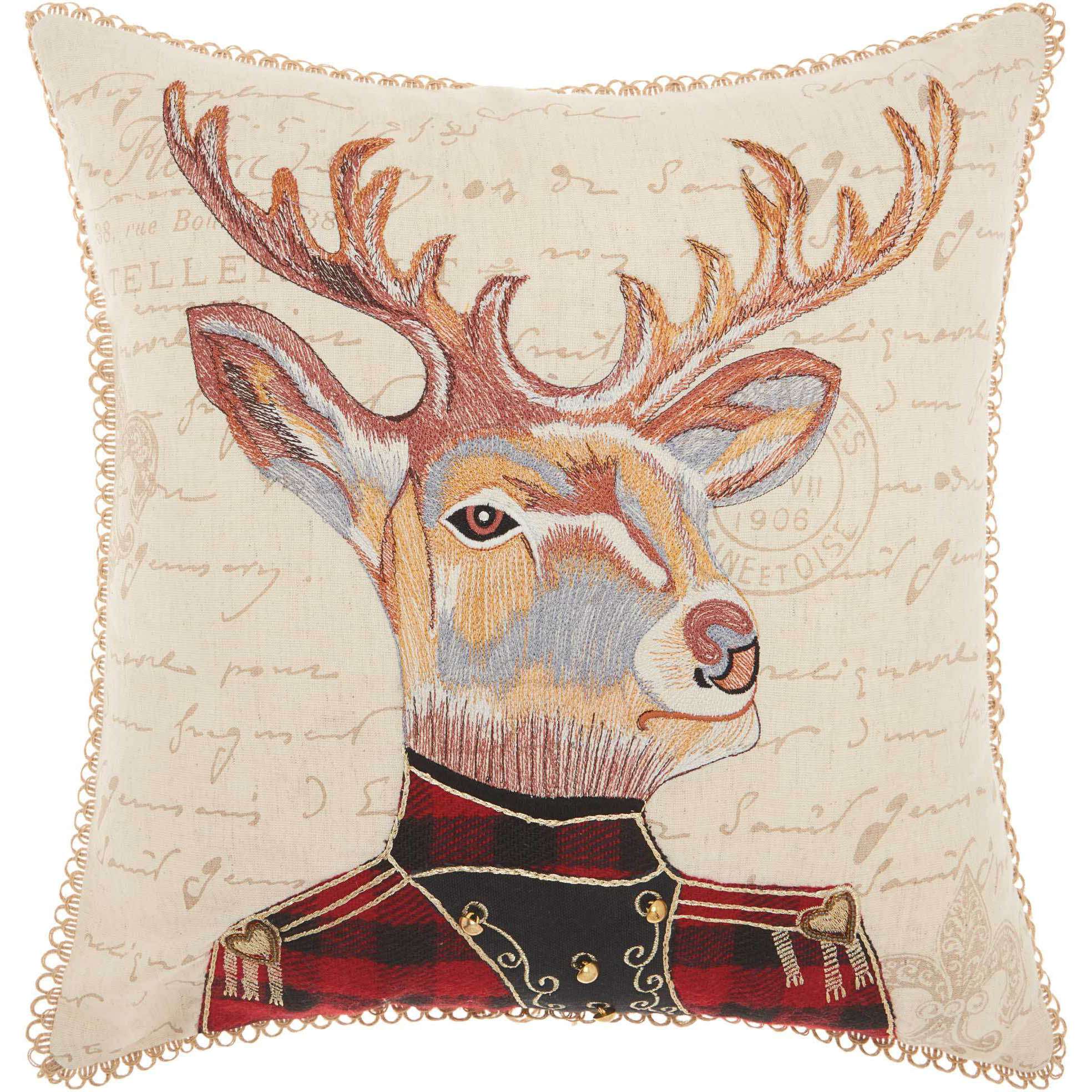 Nourison Trendy, Hip, & New Age Marching Deer Natural Throw Pillow