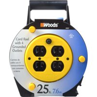 Woods 25-Foot Extension Cord Reel with 4-Outlets