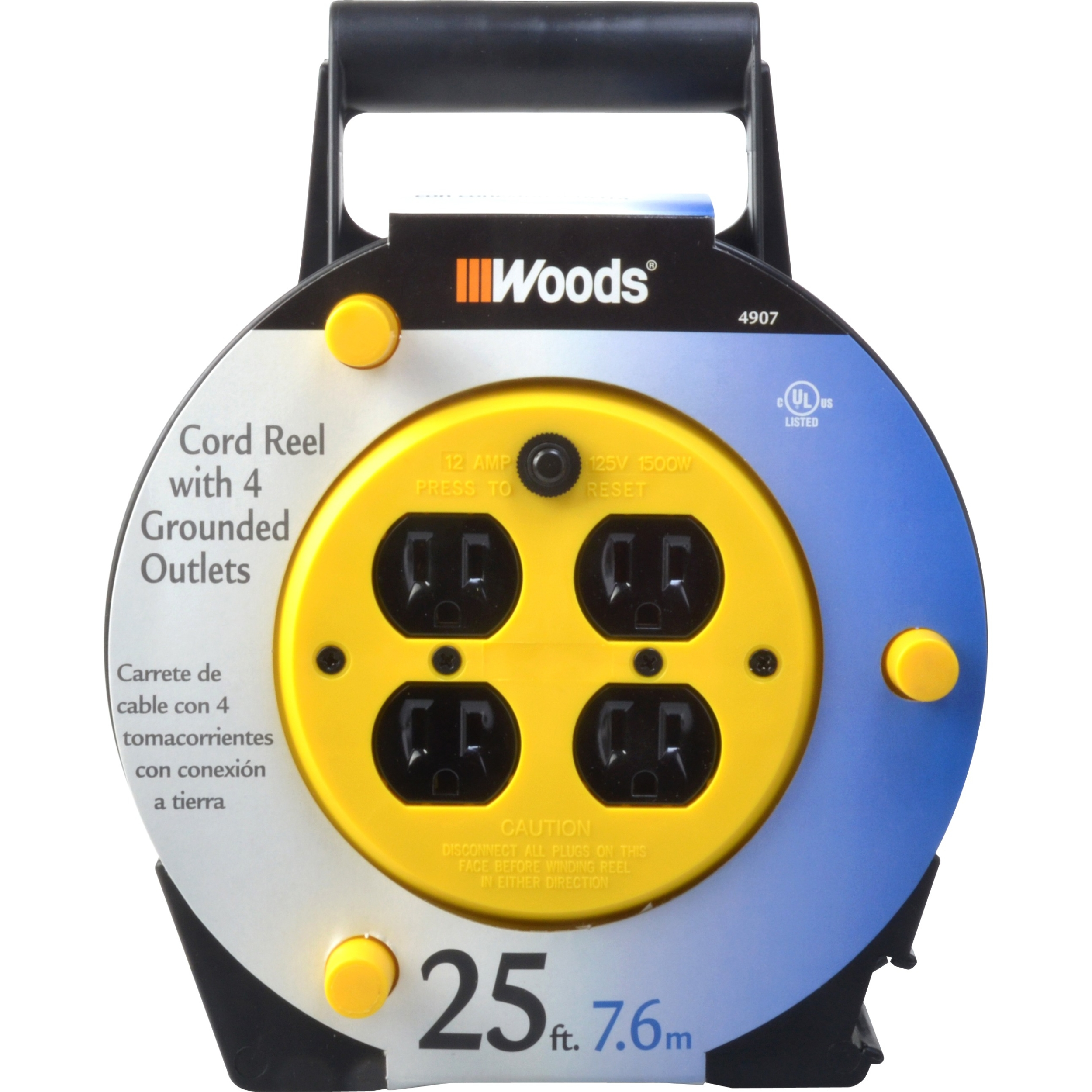 Woods Extension Cord Reel with 4-Outlets 16/3 SJTW and 12A Circuit Breaker, 25-Foot