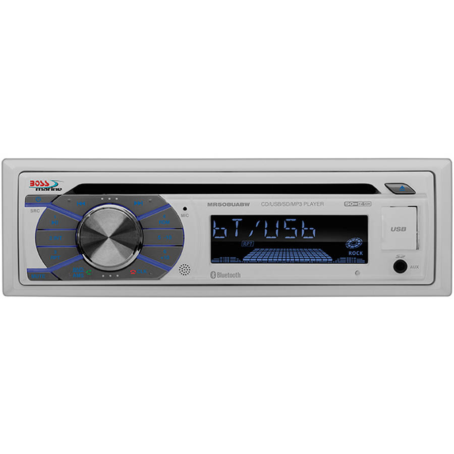 Boss Audio MR508UABW Single-DIN Marine CD MP3 USB SD Stereo Receiver with Front Aux Remote by Boss Audio