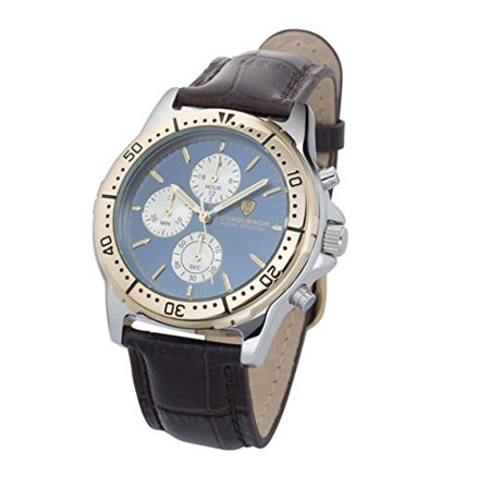 Ariel By Conqueror Mens Modern Chronographic Blue Diver Style Bezel Grain Leather Strap