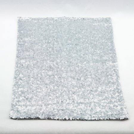 Quasimoon Silver Sequin Rectangular Table Placemat (12 x 17 Inches) by - Silver Sequin