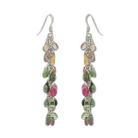 Natural Tourmaline Briolette Gemstones - Dangling Chain Sterling Silver Earrings Briolette Dangle Earrings