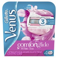 4 Count Gillette Venus Women's Comfortglide Scented 3 Blade Moisture Bar Razor Refills (White)