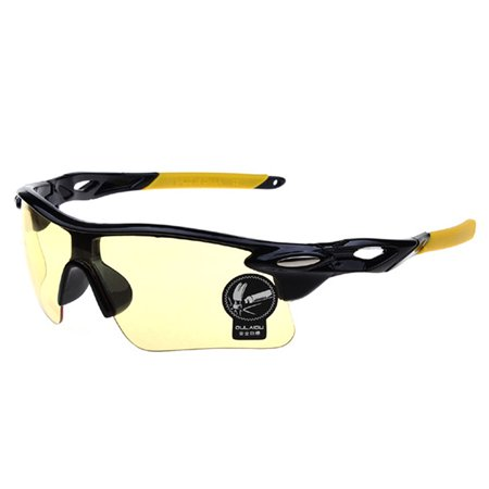 UV400 Sunglasses Men Outdoor Sports Cycling Goggles Bicycle Bike Riding Driving Fishing Running Eyewear Eyeglass - Yellow + (Best Running Sunglasses 2017)