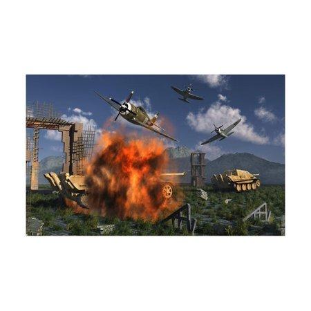 P-47 Thunderbolts Attacking German Jagdpanther Tanks During World War Ii Laminated Print Wall Art