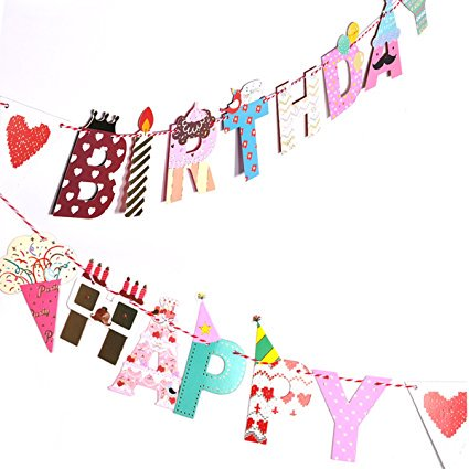 Happy Brithday Banner (eZAKKA Happy Birthday Paper Bunting Banner with Colorful Letters for Birthday Party, 78)