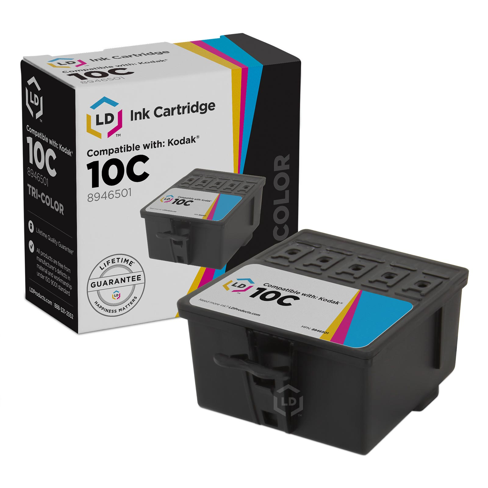 LD Compatible Kodak #10XL / 10 Ink Cartridges: 8237216 High Yield Black / 8946501 Color Cartridge