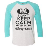 "Womens Disney World Raglan- ""I Can't Keep Calm I'm In Disney World"" Minnie Mouse 3/4 Sleeve Baseball Tee Gift Small, White/Aqua"