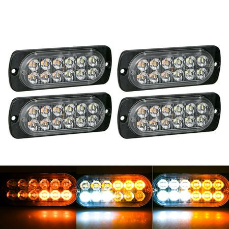 TSV 4Pack Amber/White 12 LED Car Truck Emergency Warning Hazard Flash Strobe Light ()