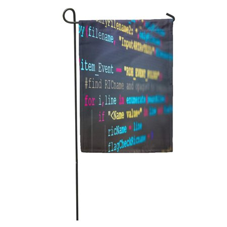 KDAGR Software Developer Programming Code Abstract Computer Script Screen of Work Time Text Written and Created Garden Flag Decorative Flag House Banner 12x18 inch ()