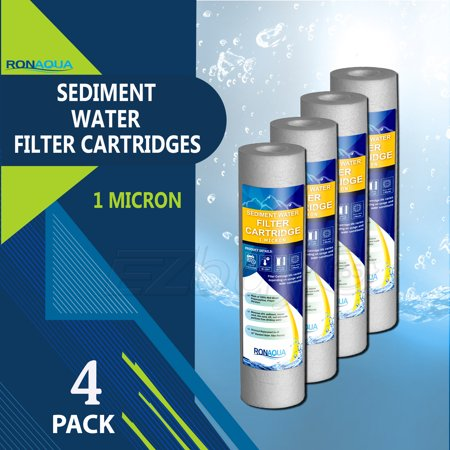 """Sediment Water Filter Cartridge by Ronaqua 10""""x 2.5"""", Four Layers of Filtration, Removes Sand, Dirt, Silt, Rust, made from Polypropylene (4 Pack, 1 Micron)"""