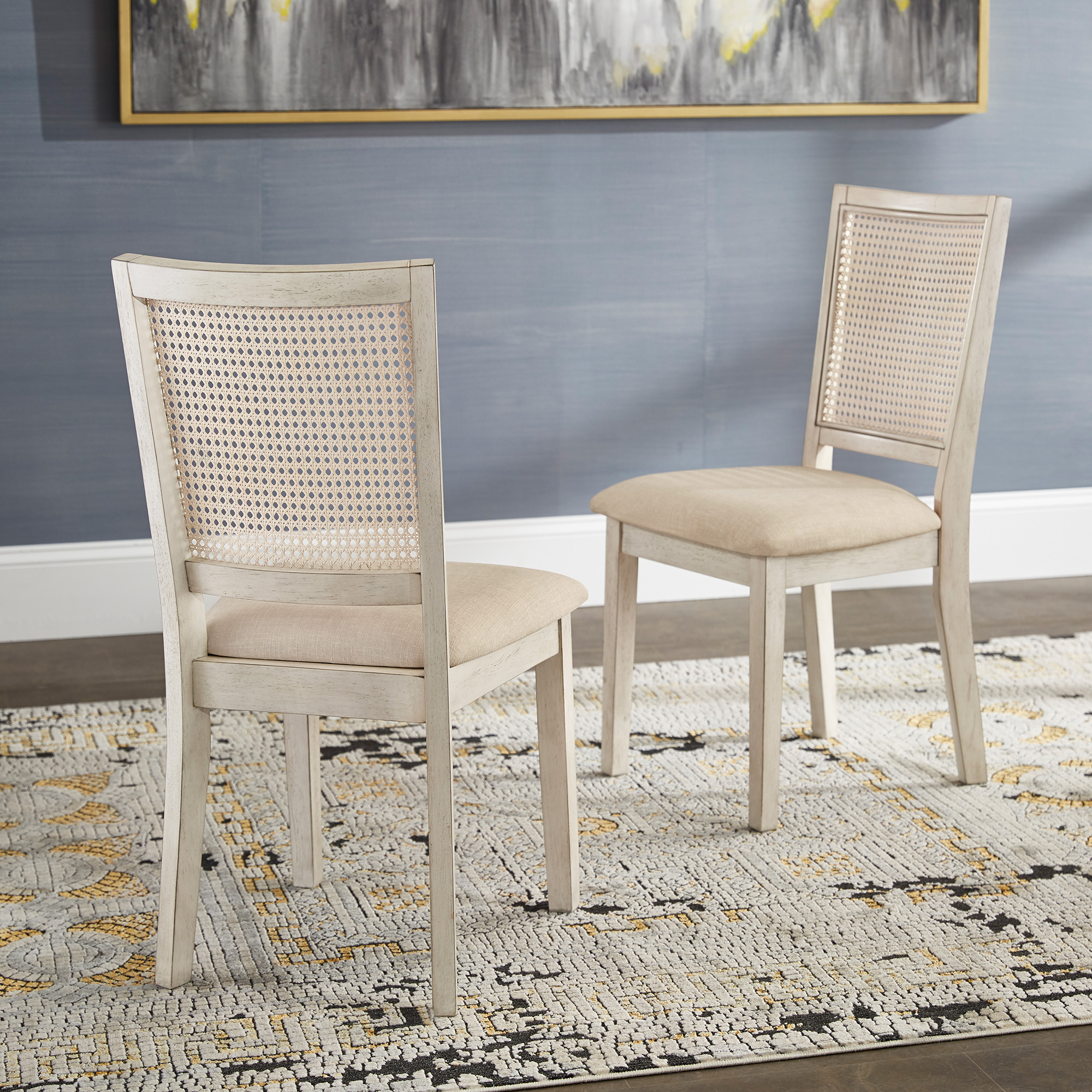 Picture of: Weston Home Farmhouse Rattan Back Beige Seat Wood Dining Chairs Set Of 2 Antique White Walmart Com Walmart Com