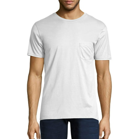 Hanes Men's nano-t short sleeve pocket tee Bust Travel White T-shirt
