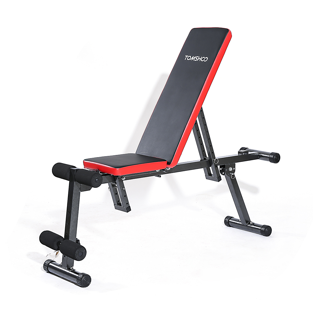 TOMSHOO Adjustable Folding AB Bench Flat Incline Fitness Exercise Sit Up Board