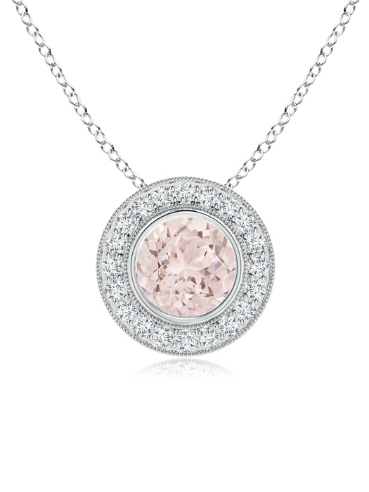 Bezel-Set Morganite Pendant Necklace with Diamond Halo in 950 Platinum (7mm Morganite) SP0727MGD-PT-A-7 by Angara.com