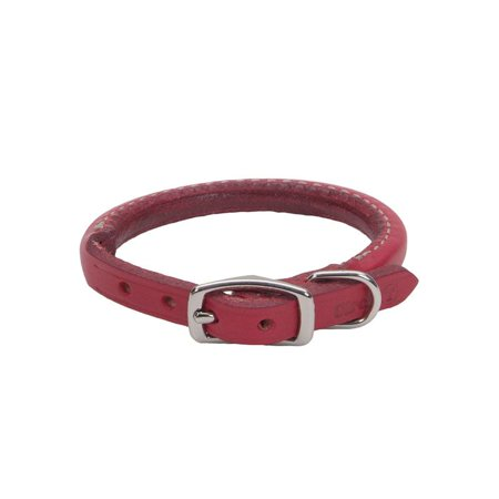 12 Round Leather - Circle T Oak Tanned Leather Round Dog Collar - Red 12  Neck