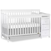Dream On Me, 5-in-1 Brody Convertible Fixed-Side Crib With Changer, White