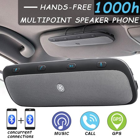 Wireless bluetooth Multipoint Handsfree Speakerphone Kit Car Sun Visor MP3 Player Speakers Hands-free Phone Audio Music Receiver Devices + handsfreespeakerphone Car Charger + USB Cable ()