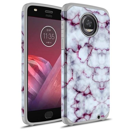 Moto Z2 Play Case, Moto Z Play (2nd Gen.) Case, Rosebono Hybrid Dual Layer Shockproof Hard Cover Graphic Fashion Cute Colorful Silicone Skin Case for Moto Z2 Play - Pluple Marble