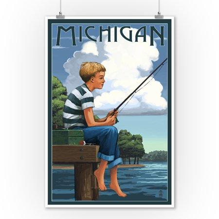 Michigan - Boy Fishing - Lantern Press Artwork (9x12 Art Print, Wall Decor Travel Poster) ()