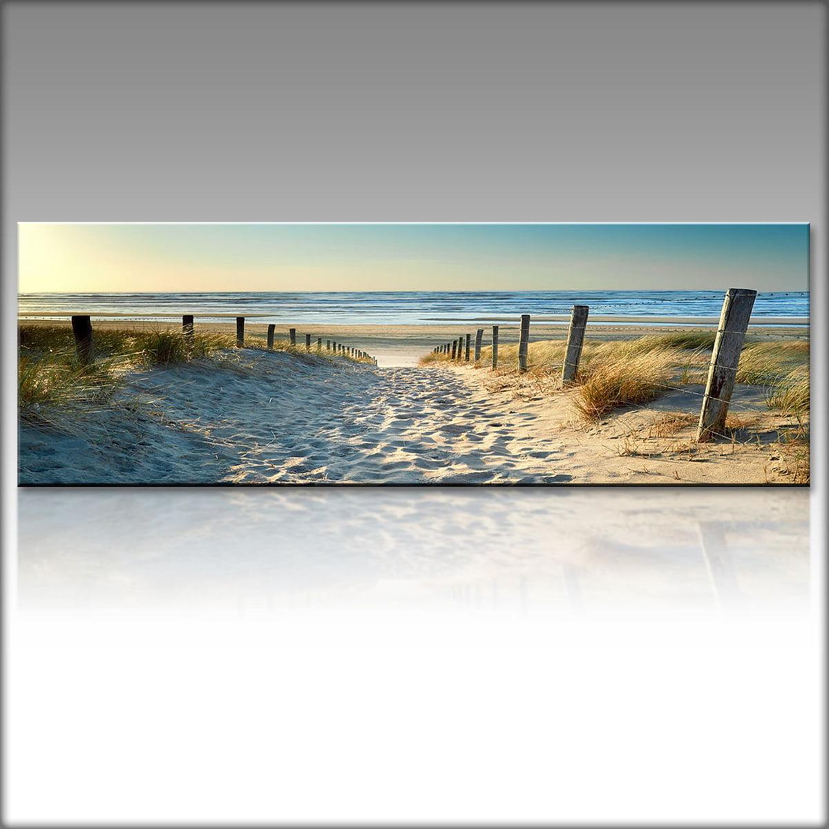 Ocean Beach: Mrosaa Ocean Beach Nature Landscape Canvas Print Wall Art