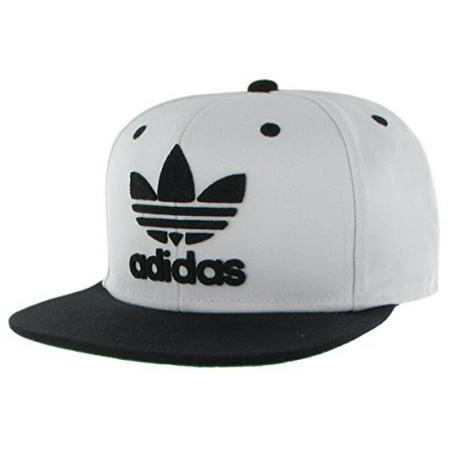 (adidas Originals Men's Originals Snapback Flat Brim Cap, White/Black, One Size)