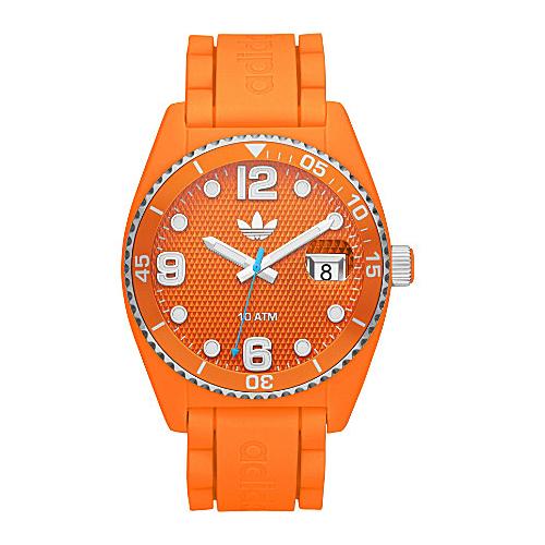 Adidas adh6157 43mm Plastic Case Orange Silicone Mineral Watch by Adidas