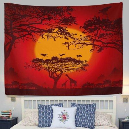 POPCreation Sunset African Twilight Savannah Safari Giraffe Bird Orange Fabric Tapestry Throw Dorm bedroom Art Home Decor Tapestry Wall Hanging 40x60 - Safari Bedroom Decor