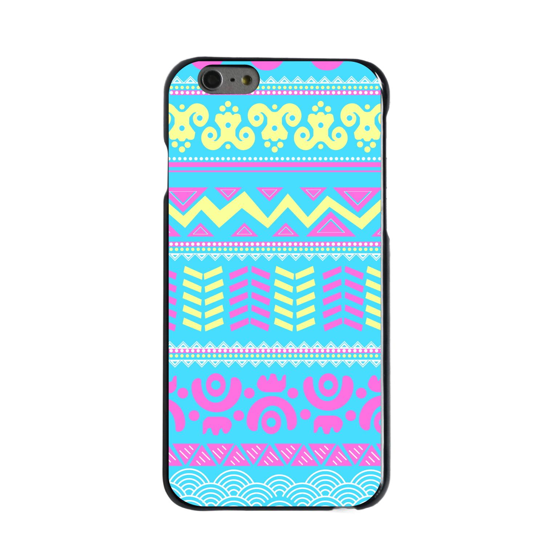 "CUSTOM Black Hard Plastic Snap-On Case for Apple iPhone 6 PLUS / 6S PLUS (5.5"" Screen) - Yellow Pink Blue Aztec Tribal"