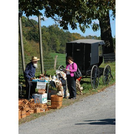 LAMINATED POSTER Amish Rural Roadside Seller Buggy Country Carriage Poster Print 24 x -