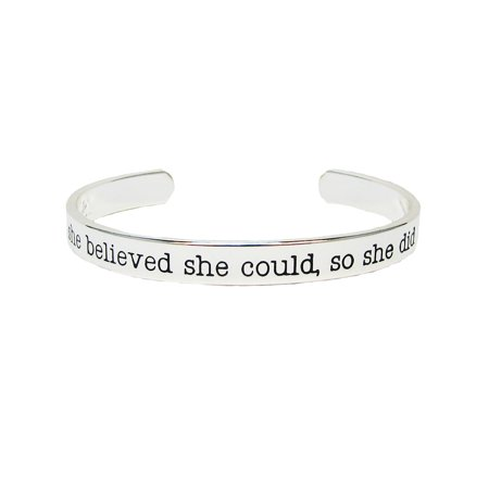 She Believed She Could So She Did Silver Plated Cuff Bangle Bracelet Inspirational Stackable - Inspirational Bracelets