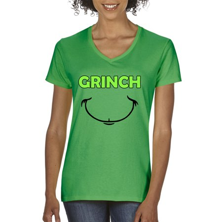 Grinch Green - New Way 605 - Women's V-Neck T-Shirt Grinch Smile Christmas Face