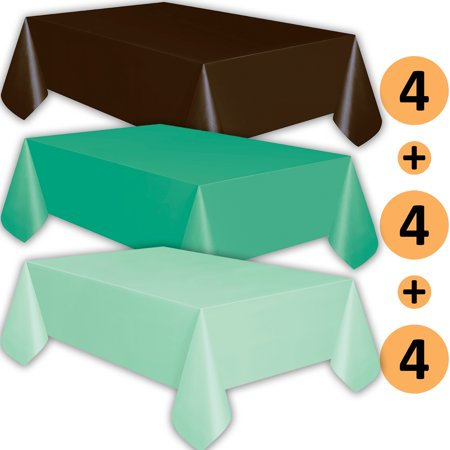 12 Plastic Tablecloths - Brown, Teal, Mint - Premium Thickness Disposable Table Cover, 108 x 54 Inch, 4 Each - Mint Green Plastic Tablecloth