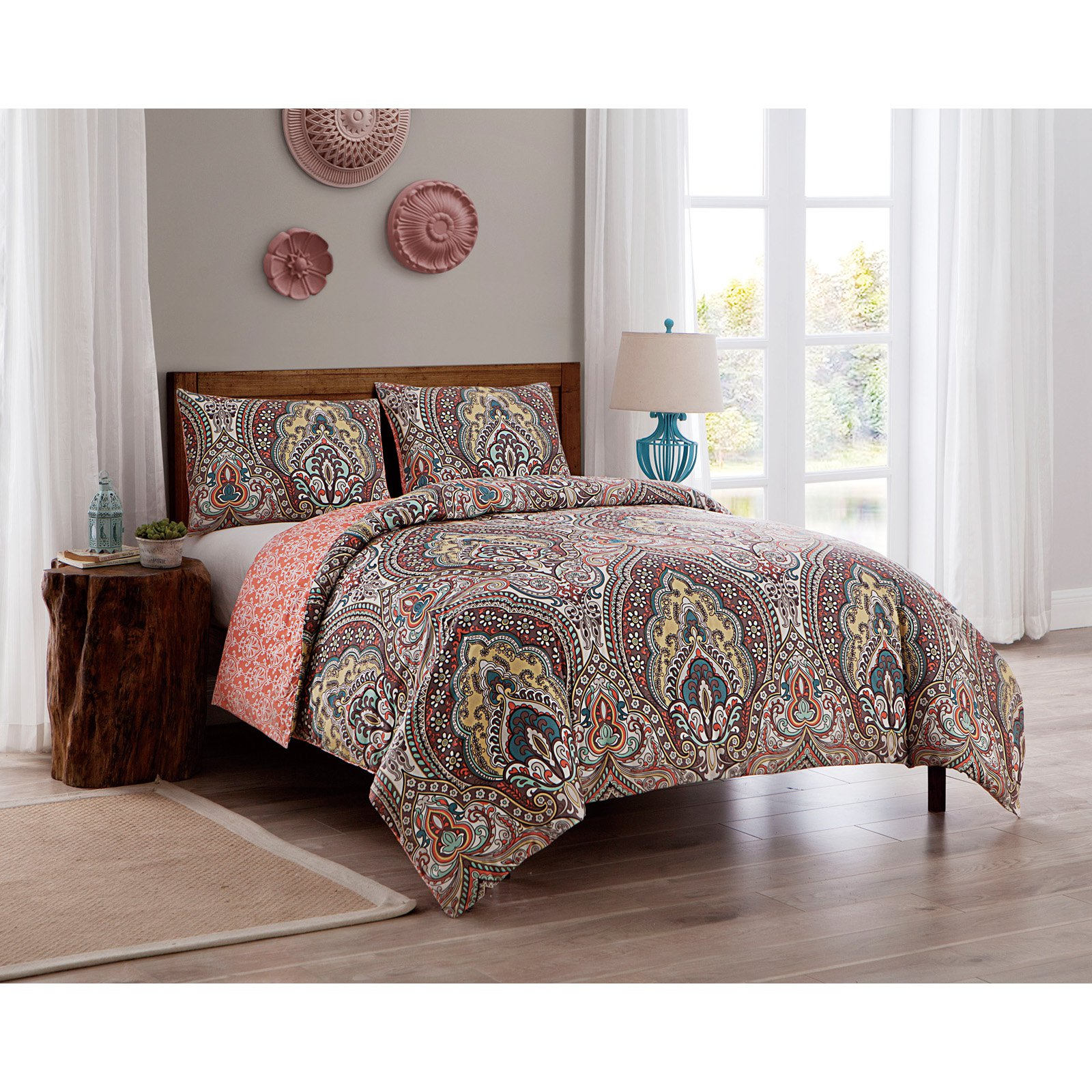 VCNY Home Palaci Damask Printed 2/3 Piece Duvet Cover Bedding Set, Shams Included