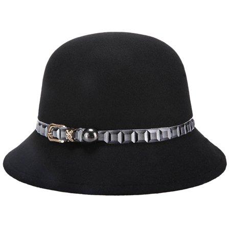 Women Outdoor Vintage Top Hat Girl Spring Winter Autumn Classic Elegant Basin Belt Party Hat