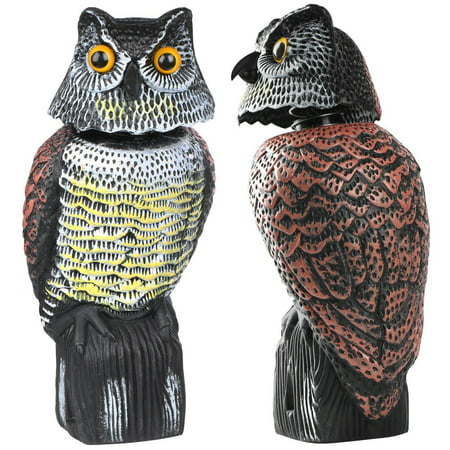Topeakmart Realistic Owl Decoy with Rotating Head Garden Protection Repellent Bird Scarer](Owls Head Halloween 2017)