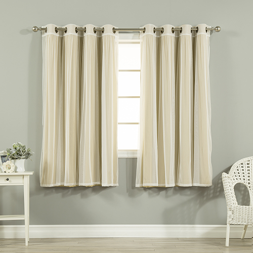 Wheat 52 x 63 In. Sheer Lace and Blackout Window Treatments, Set of Four