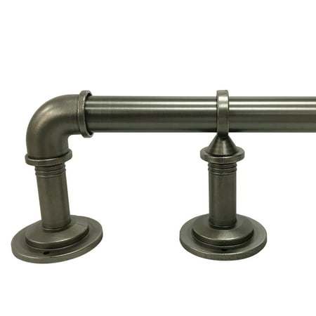 "Better Homes & Gardens 40"" - 120"" Industrial Pipe Wrap Around Curtain Rod Set, 1"" Diameter"