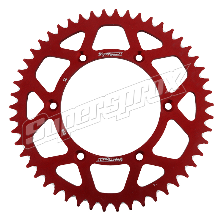 New Supersprox Red Aluminum Sprocket, 50T, Chain Size 520, Ral-808-50-Red