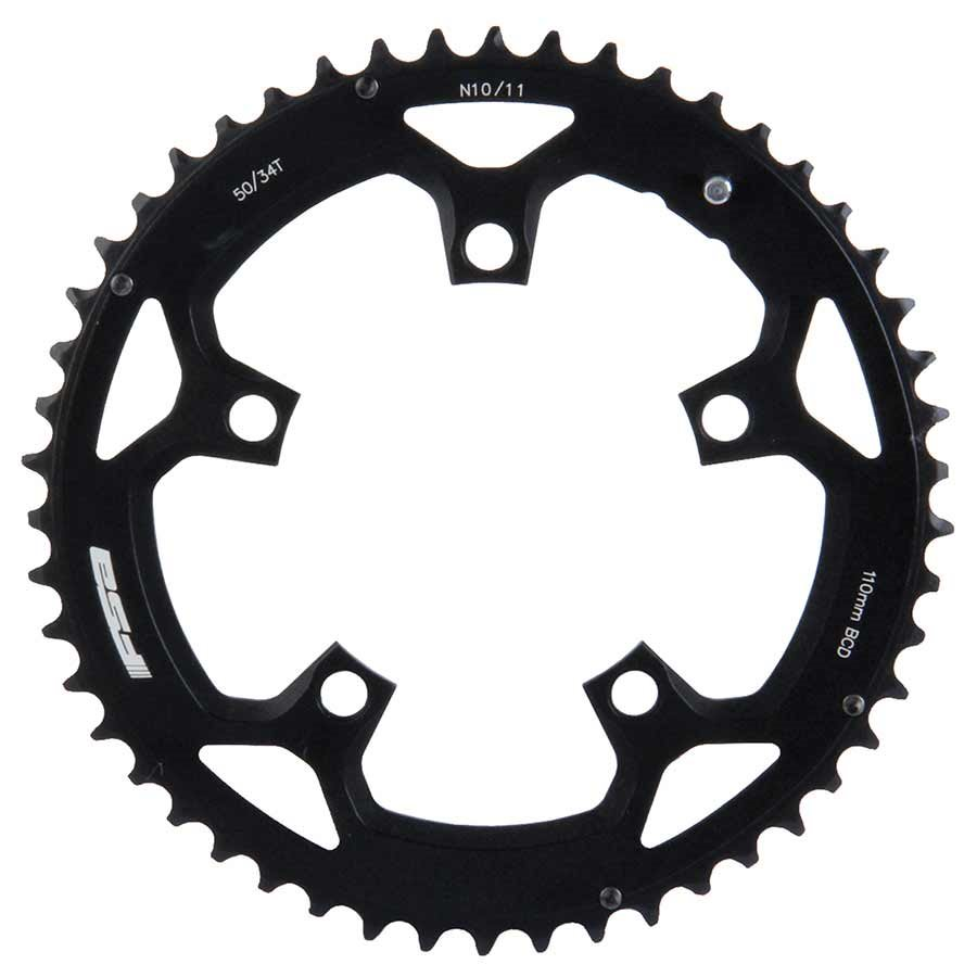 FSA, 46T, 10/11sp., BCD: 110mm, 5 Bolts, Pro Road, Outer Chainring, For Double, Aluminum, Black, 371-0246D
