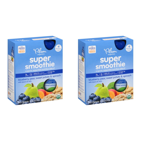 (2 Pack) Plum Organics Super Smoothie Blueberry, Pear, Sweet Potato & Spinach Organic Essential Nutrition Blend 4-4 oz. Pouches