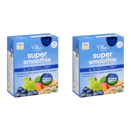 (2 Pack) Plum Organics Super Smoothie Blueberry, Pear, Sweet Potato & Spinach Organic Essential Nutrition Blend 4-4 oz. - 2 Sweet Potato