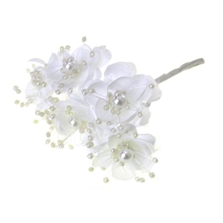Branch Wire (Satin Pearl Flowers Branch, 1-1/2-Inch, 12-Piece, White )